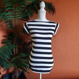 French Connection Nautical Striped Tee, White Navy